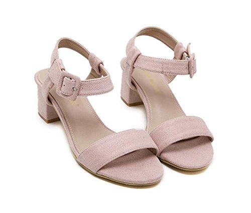 sandalias de verano en los zapatos de hebilla de ante con tres colores gruesa con los zapatos Pink