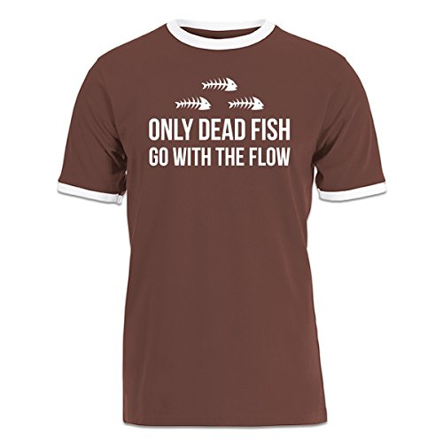 Shirtcity Only Dead Fish Go With The Flow Ringer T-shirt M Multicolored