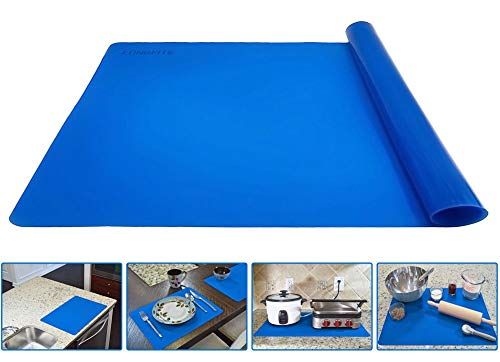 Silicone Baking Mat for Dough Rolling Pastry Fondant Mat Large Nonstick and Nonskid Heat Resistent, Countertop Protector, Dining Table Mat and Placemat 20 by 16(Without Measurements, Blue)