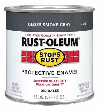 Rustoleum Stops Rust 7786 730 1/2 Pint Smoke Gray Protective Enamel Oil Base Paint by Rust-Oleum Corp/Zinsser