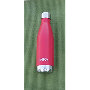 MIRA Vacuum Insulated Stainless Steel Water Bottle | Leak-proof Double Walled Cola Shape Sports Water Bottle | No Sweating, Keeps Your Drink Cold 24 hours or Hot 12 hours | 25 Oz (750 ml) | Red