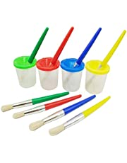 4 Pieces Assorted Colored Children's Paintbrushes Spill Proof Paint Cups and Paint Brushes for Kids