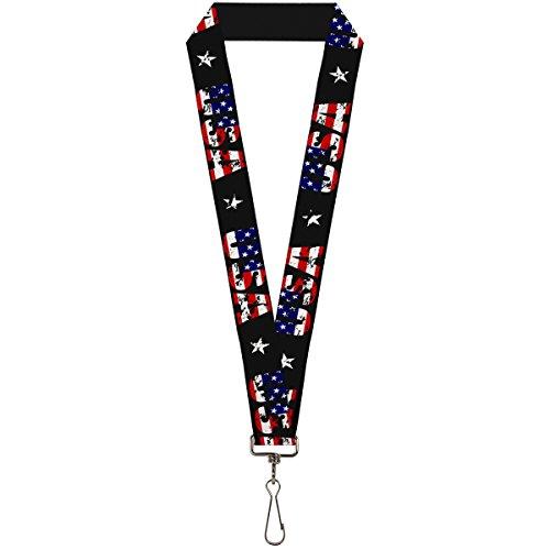 Lanyard Usa - Buckle-Down Lanyard - USA w/Star Black/US Flags