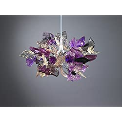 Pendant light Purple Flowers and Leaves Lamp Shade - Handmade Ceiling Lights for Girls Bedroom - Home & Kitchen Light Fixtures - Home Decor