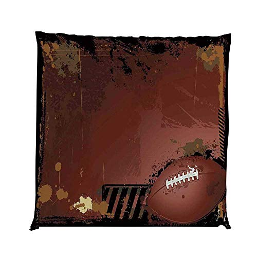 YOLIYANA Sports Durable Square Chair Pad,Maroon Grunge Rugby Theme with Game Elements Competition Win Sports Artisan Image for Bedroom Living Room,One ()