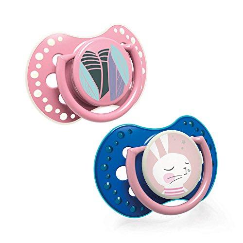 LOVI Follow the Rabbit - Pack de 2 chupetes dinámicos silicona para niña, talla 3-6 meses
