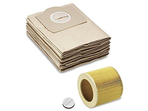 Papel de filtro de bolsa como 6.959-130.0 y filtro de cartucho papel como 6.414-552.0 Adecuado para Kärcher wd2 WD3 MV2 MV3 5 x bolsas filtrantes de ...