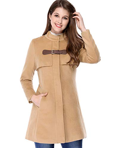 Allegra K Women's Band Collar Buckle Fastening Caped Flare Coat L Brown