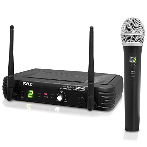 Handheld Microphone Paging (Pyle Pro Premier Series UHF Digital Wireless Portable Microphone System with 8 Frequency Channel, XLR Output, Handheld Mic, Receiver Base, 1/4