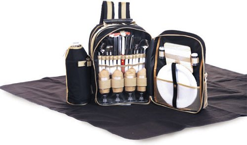 4 Person Picnic Complete Backpack 31 pcs with Waterproof Blanket, Thermal insulated cooler, 2 Wine bottle holders Tremont by Picnic Plus