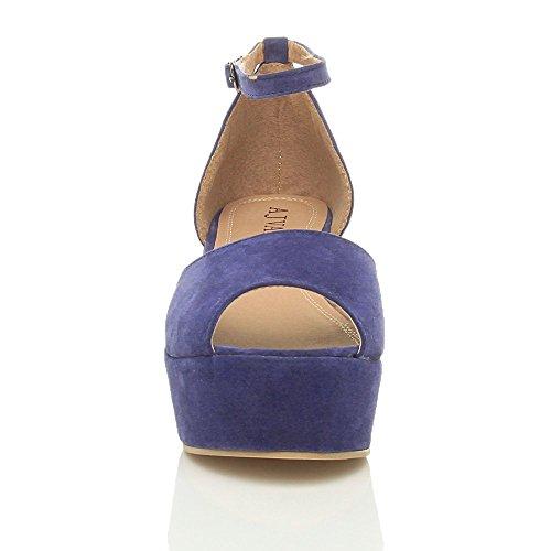 Sandals Heel Ajvani Suede Shoes Size Women Blue Flatform Mid 4AzzwfqI