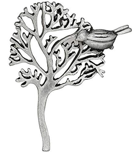 1 Antiqued Silver Plated Pewter Tree with Bird Charm ~ 44x38mm