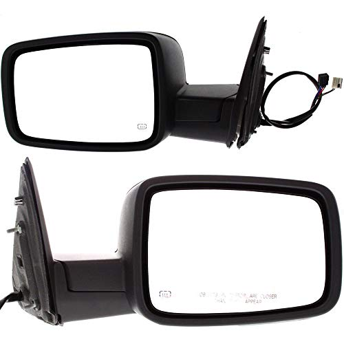 (Power Mirror compatible with Dodge Full Size P/U 09-12 Right and Left Side Manual Folding Heated Non-Towing W/Signal and Puddle Light Textured Black )