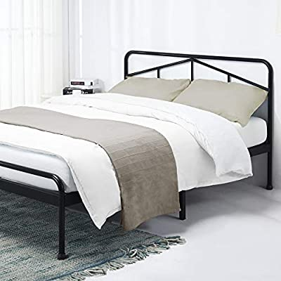 """Mellow Glen - 14 Inch Metal Platform Bed with Rounded Headboard, Patented Wide Steel Slats, Easy Assembly, Full, Black - Full glen platform bed frame with headboard and rounded corners, mattress foundation; no box Spring needed 100% Steel Construction and 9 points of contact for superior stability and support 12"""" Vertical clearance for convenient under-the-bed storage space - bedroom-furniture, bedroom, bed-frames - 41fIx1Jo9gL. SS400  -"""