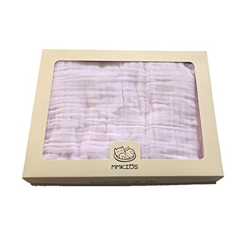 6-Layer 100% Cotton Yarn Baby Bath Towels with Gift Wrapping,Ultra Soft and Absorbent,Multiple Use Baby Muslin Blanket,Care of Baby Delicate Skin -1 pcs 39''X39'' (Pink) ()