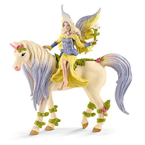 Schleich 70565 Fairy Sera with Blossom Unicorn Figurine Toy, Multicolor