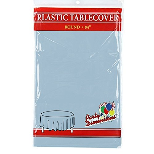 Light Blue Round Plastic Tablecloth - 4 Pack - Premium Quality Disposable Party Table Covers for Parties and Events - 84