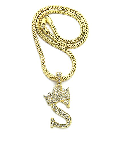 Crown Gold-Tone Stone Initial Letters Pendant Necklace 18