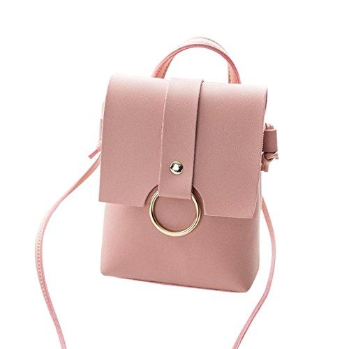 Gusspower Bolso del anillo del bolso de las mujeres bolso del embrague plegable bolso del mensajero Bolso de hombro Bolso de Crossbody y Monedero (Blanco) Rosa