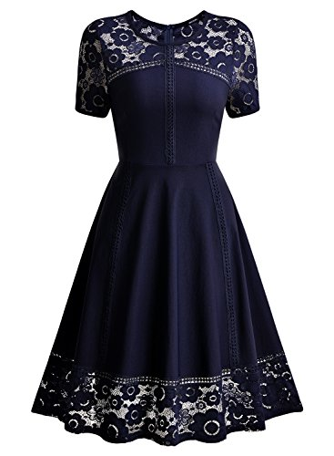 MissMay Women's Vintage 1950s Floral Lace Contrast Elegant Cocktail Swing Dress Navy Blue XX-Large by MissMay (Image #3)