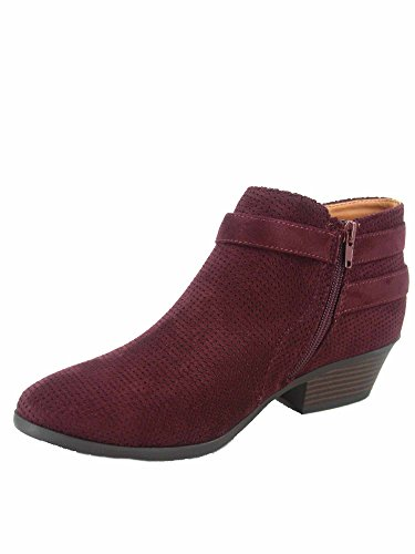 FZ-Portia Women's Stylish Round Toe Low Heel Side Zipper Perforated Ankle Booties Shoes (6.5 B(M) US, Vino)