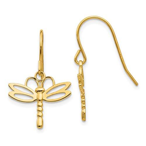 14k Yellow Gold Polished Dragonfly Shepherd Hook Earrings 26x16 mm