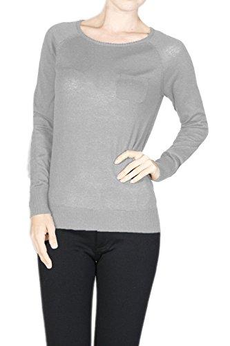 2LUV Women's Long Raglan Sleeve Knit Sweater Light Gray L