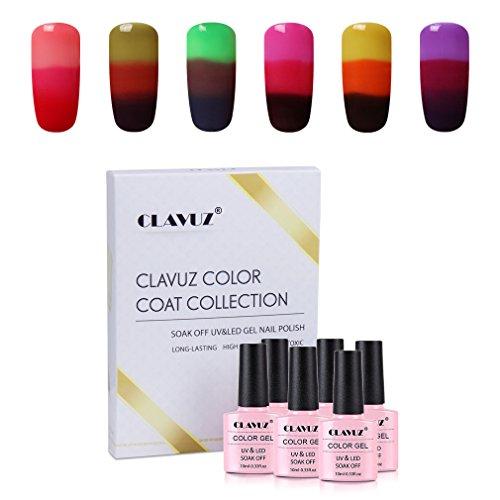 Gel Nail Polish,CLAVUZ Soak Off Color Changing Nail Lacquer Set Nail Art Varnish Kit 6PCS 10ML