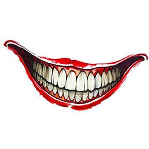 特殊メイク タトゥーシール 口 Mouth コスチューム用小物  ハロウィン  コスプレ 3枚セット (Joker MouthA:11.8cm)