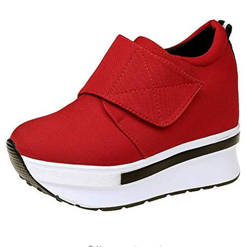 Outdoor Confortevole Donna Rosso Zeppa Piattaforma Sportive Heeled Ginnastica casual Moda Da 2 Sneakers Scarpe xUnwUCqg