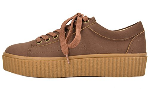 01 Toetos Reinna Shoes Tan Platform Lace Women's Up Sneakers zqHrqEAw6