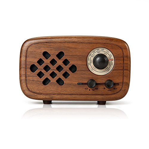 Rerii Handmade Walnut Wood Portable Bluetooth Speaker, Bluetooth 4.0 Wireless Speakers with Radio FM/AM, Nature Wood Home Audio Bluetooth Speakers with Super Bass and Subwoofer by Rerii (Image #1)