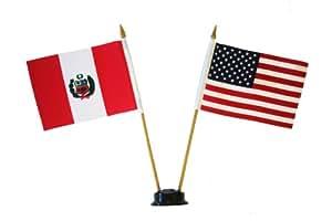 Estados Unidos y Perú pequeño 4X 6pulgadas Mini doble país Stick banderines con soporte negro en un 10cm poste de plástico.. Nuevo