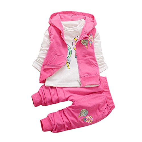 Keepfit Toddler Baby Girls Sweet Lolly T-shirt+Hooded Waistcoat+Pants Outfits Clothes (24M, Hot Pink) (Catalog Fairy)
