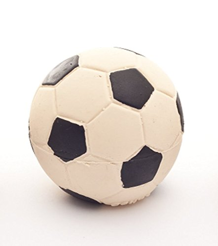 - Soccer Latex Ball Dog Toy 2.5 inches, 100% Natural Rubber (Latex). Lead-Free & Chemical-Free. Complies to Same Safety Standards as Children's Toys. Soft & Squeaky. Best Dog Toy for Small Dogs.
