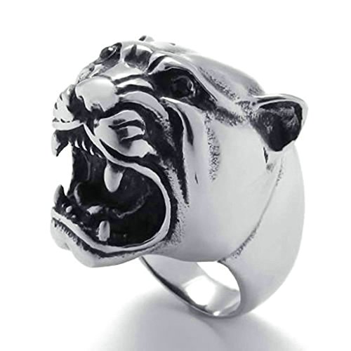 [Daesar Stainless Steel Rings Mens Silver Black Rings Vintage Gothic Punk Rings Tiger Ring for Men] (Punk Costume Nz)