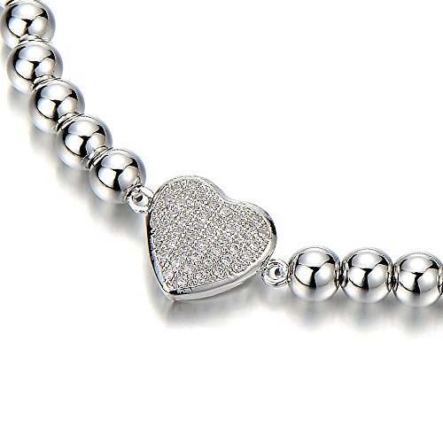 Link Charm Bracelet for Women Girls with Cubic Zirconia Heart Charm by COOLSTEELANDBEYOND (Image #1)