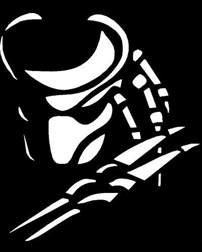 Make Predator Costumes (Predator Face Vinyl Decal Sticker|Cars Trucks Vans Walls Laptops|WHITE|5 In|KCD574)