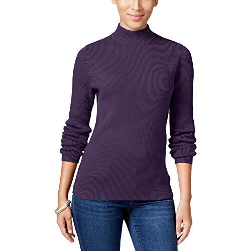 Karen Scott Womens Ribbed Knit Mock Turtleneck Pullover Sweater Purple M