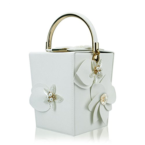 Beaded Party amp;OS Totes Evening PU Dinner Bags ZJ Handbag Women white Flowers Wedding Clutches qSt818