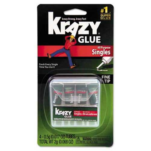Krazy Glue Krazy Glue Single-Use Tubes w/Storage Case, 0.07 oz, 4/Pack 0.07 Ounce Super Glue
