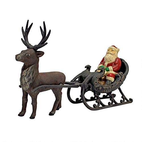 Christmas Decorations - Santa Claus on Sleigh with Christmas Reindeer Die Cast Iron Holiday Decor Statue