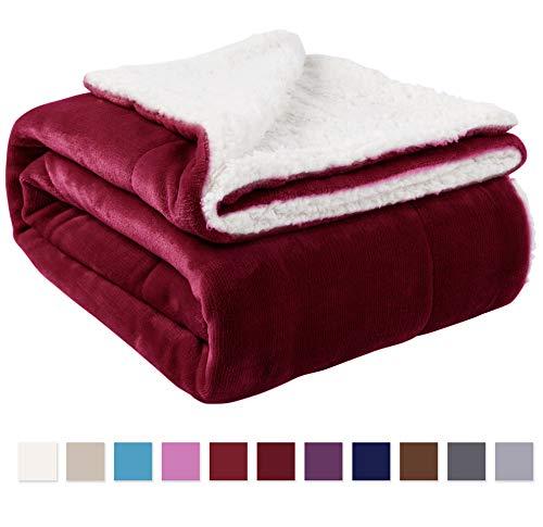 NANPIPER Sherpa Blanket Twin Thick Warm Blanket for Winter Bed Super Soft Fuzzy Flannel Fleece/Wool Like Reversible Velvet Plush Blanket (Wine Red Twin Size 60