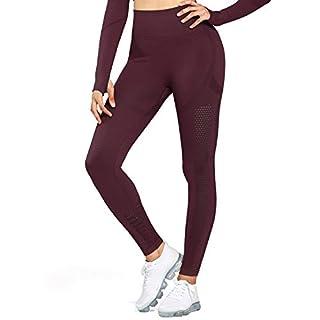 Aoxjox Women's High Waist Workout Sport Gym Arise Prime Seamless Leggings Yoga Leggings (Dark Ruby, Large)