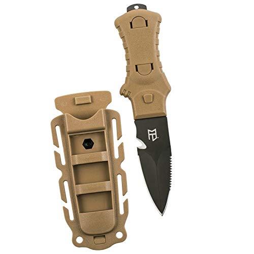 Military Boot Knife Black Blade - MCNETT FIXED BLADE TACTICAL KNIFE - TAN