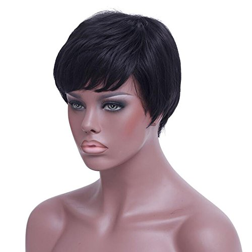 Aoert Short Natural Straight Wig with Bangs Heat Resistant Synthetic Wigs for Black Women Side Part Black Wig with Free Wig Cap
