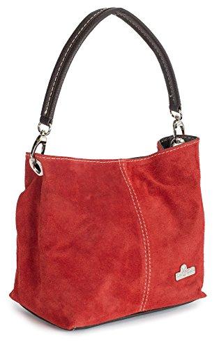LiaTalia - Mini sac à main modèle cabas/hobo pour femme en suède italien porté épaule - 'Demi'(Noir) Rouge