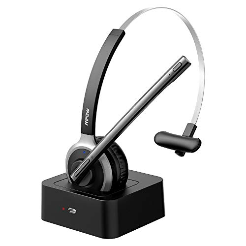 Mpow M5 Bluetooth Headset with mic, Truck Driver Headset with 180-Hr Charging Base for Cell Phone, Wireless Hands-Free Headphones for Skype/Call Center/Office