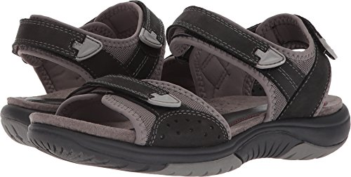 Rockport Women's Franklin Three Strap Sport Sandal, Black, 8 W - Strap Black Sandal 3