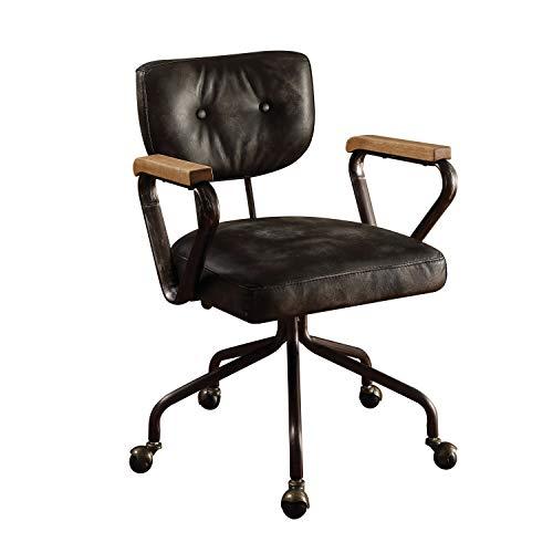 (Acme Hallie Top Grain Leather Office Chair, Vintage Black)